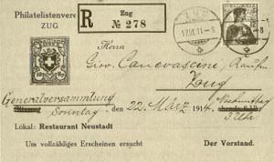 eingeschriebener Brief 1914